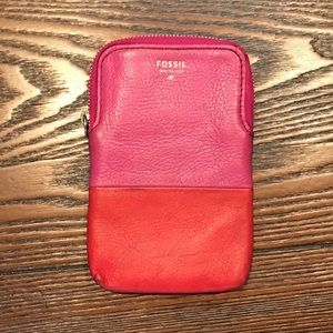 Pink Fossil Leather Wallet